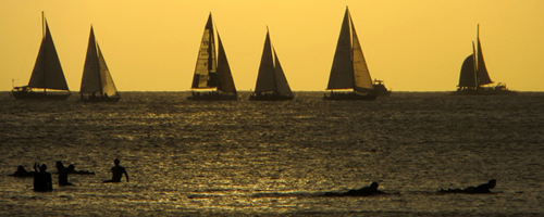 Hawaii Vacation Sunset Sailboats