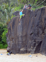 Rock Climbing at Waimea Bay