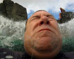 Splashdown After Jumping Off the Rock at Waimea Bay