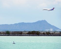 Flights to Hawaii: Hawaiian Airlines Over Diamond Head Crater