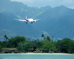 Hawaiian Airlines Plane Landing On-Time at Honolulu International Airport