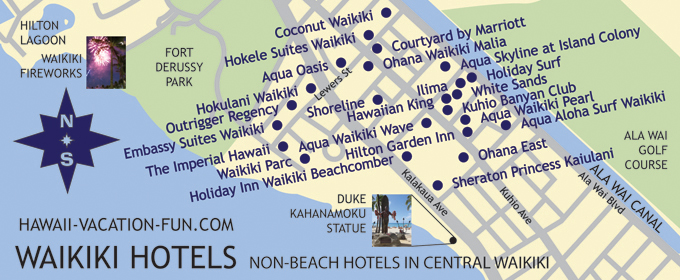 Map of Non-Beachfront Central Waikiki Hotels with Nearby Landmarks