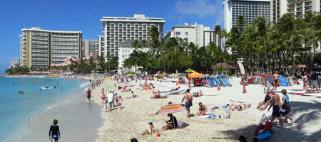 Waikiki Beach Crowd