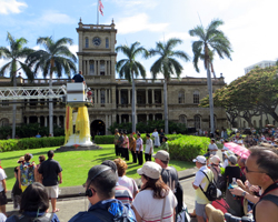 Crowds Gather to Watch Lei Draping for Kamehameha Day