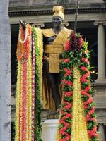 Kamehameha Statue Draped with Lei for Kamehameha Day