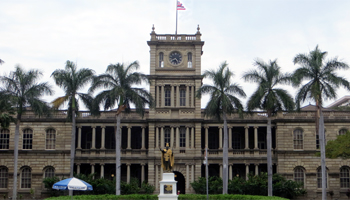 King Kamehameha Statue in Front of Aliiolani Hale in Honolulu