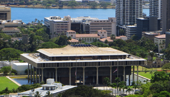 Hawaii State Capitol as Seen from Punchbowl