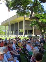 Hawaii State Capitol Next to Royal Hawaiian Band Performance at Iolani Palace