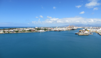 View of Honolulu Harbor and Sand Island from Aloha Tower