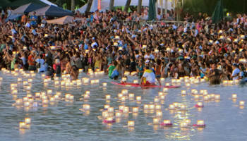 Lantern Floating Hawaii Crowd in Water