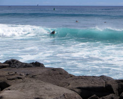 Surf Breaking on Rocks at Kakaako Waterfront Park