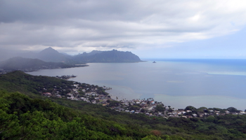 Clouds Gathering and Rain Starting to Fall over Kaneohe Bay, East Shore Oahu