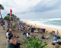 Large Crowds Gather to Watch Surfing in Hawaii When There's a Big North Shore Swell