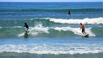 Surfing in Hawaii on an Especially Good Day at White Plains Beach
