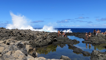 Waves Crashing into Tide Pools Below Makapuu Lighthouse