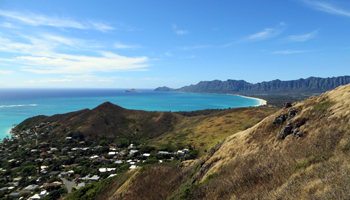 View of Waimanalo Beach and Makapuu Point from Lanikai Pillboxes Trail