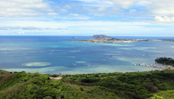 Heeia Kea Pier and Marine Corps Base Hawaii Viewed from Puu Maelieli Trail