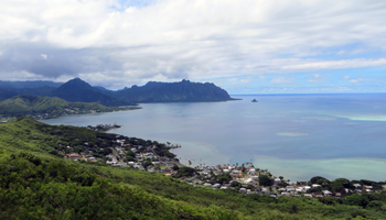 Kaneohe Bay and Chinaman's Hat Viewed from Puu Maelieli Trail