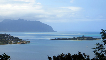 View of Kaneohe Bay, Coconut Island, and Chinaman's Hat from Friendship Garden Trail