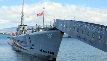 USS Bowfin Submarine Next to the USS Arizona Memorial
