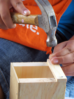Home Depot Kids Workshop Hammering