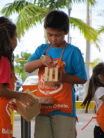 Painting the Project at the Home Depot Kids Workshop