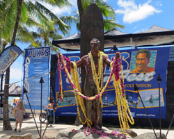 Lei Draped Duke Kahanamoku Statue at Oceanfest