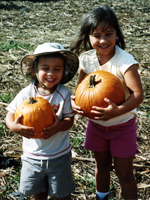 Kids with Pumpkins at Aloun Farms Pumpkin Patch