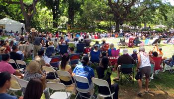 Crowd Surrounding Moanalua Gardens Hula Mound at Prince Lot Hula Festival