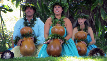 Dancers with Ipu at Prince Lot Hula Festival