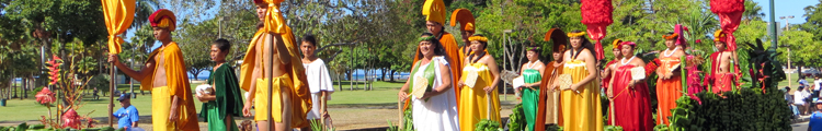 Aloha Festivals Royal Court on Parade Float (Just Like 1950 Aloha Week Ad)