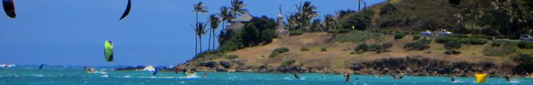 Kite Surfers at Kailua Beach on East Shore Oahu