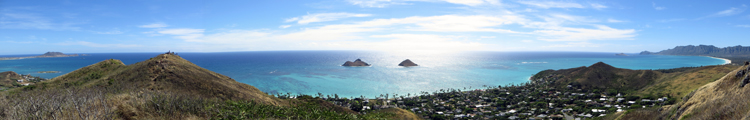 Panoramic View of Kailua and Waimanalo from Lanikai Pillboxes