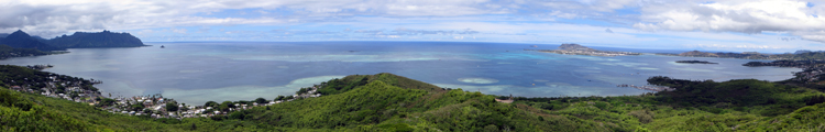 220-Degree View of Kaneohe Bay from Summit of Puu Maelieli Trail