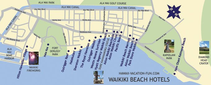 Map Of Waikiki Beach Hotels