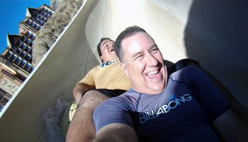 Me and a Friend on the Water Slide at Disney Aulani Resort