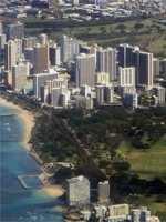 Kapiolani Park and the Southeast Waikiki Hotels (Seen from a Hawaiian Airlines Flight to Maui)