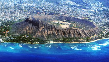 Aerial View Looking into Diamond Head Crater from a Hawaiian Airlines Flight to Maui