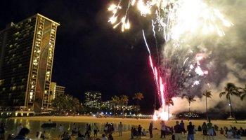 Waikiki Fireworks1 at Hilton Lagoon