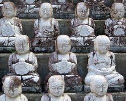 Disciple Figurines in the Garden of Ji Jang Bosal at Mu-Ryang-Sa Buddhist Temple Hawaii