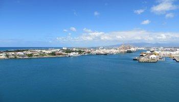 View of Honolulu Harbor and Sand Island from Aloha Tower