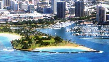 Aerial View of Magic Island Oahu