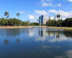 Reflection of Honolulu on the Pond at Ala Moana Beach Park