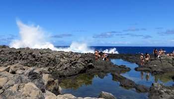 Waves Crashing into Tide Pools Below Makapuu Lighthouse