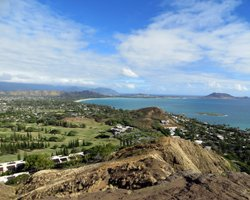View of Kailua Bay and Mid-Pacific Country Club from Lanikai Pillboxes trail