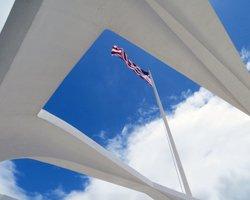 USS Arizona Flag as Seen from the USS Arizona Memorial