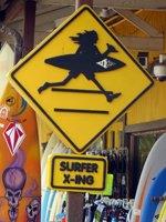 Surfer Crossing Sign in Haleiwa Hawaii