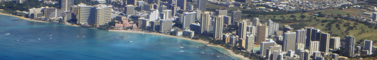 Aerial View of Central Waikiki Hotels as Seen from a Hawaiian Airlines Flight to Maui